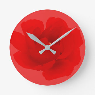 Watercolor Floral Crimson Red Peony Round Clock
