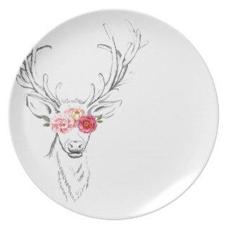 Watercolor Floral Deer Plate