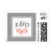 Watercolor Floral Design Wedding Postage Stamps