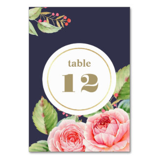 Watercolor Floral Design Wedding Table Number Card