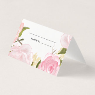Watercolor Floral Design Wedding Table Place Cards