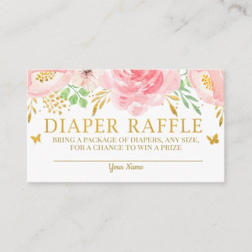 Watercolor Floral Diaper Raffle Card Girl Baby