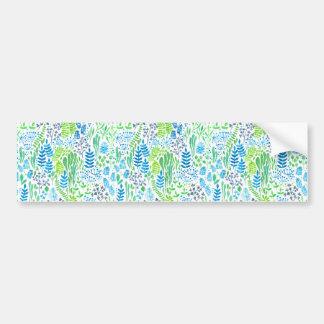 Watercolor floral doodles white bumper sticker