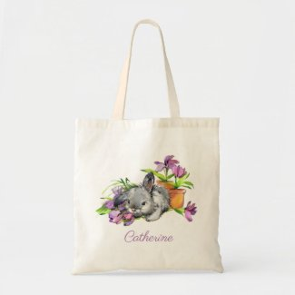 Watercolor Floral Easter Bunny Rabbit Personalized Tote Bag
