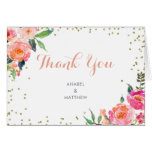 Watercolor Floral Elegant Gold Thank You Card