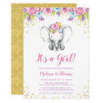 Watercolor Floral Elephant Baby Shower Invitations