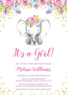 Elephant baby shower invitations zazzle watercolor floral elephant baby shower invitations filmwisefo