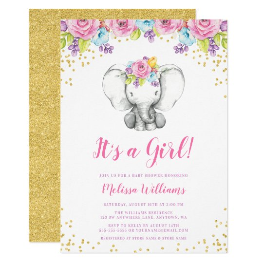 Watercolor Floral Elephant Baby Shower Invitations Zazzle Com