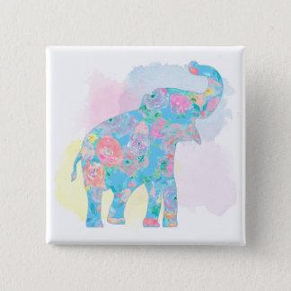 watercolor floral elephant button
