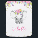 "Watercolor Floral Elephant Personalized Girl Baby Swaddle Blanket<br><div class=""desc"">Sweet elephant girl baby blanket. This cute design features watercolor pink,  purple and blue flowers,  elephant and faux gold glitter confetti.</div>"