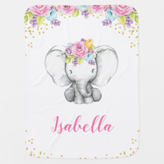 Watercolor Floral Elephant Personalized Girl Baby Swaddle Blanket