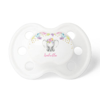 Watercolor Floral Elephant Personalized Girl Pacifier