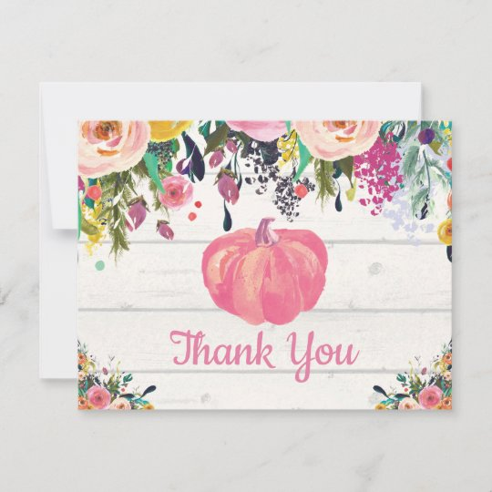 Watercolor Floral Fall Pumpkin Thank You Card Zazzle Com