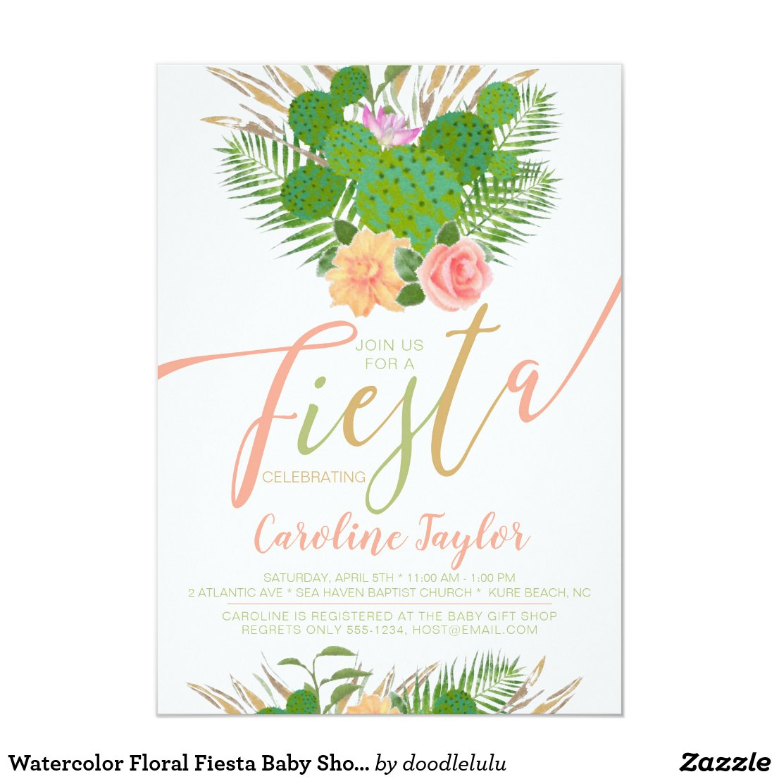 Watercolor Floral Fiesta Baby Shower Invitation