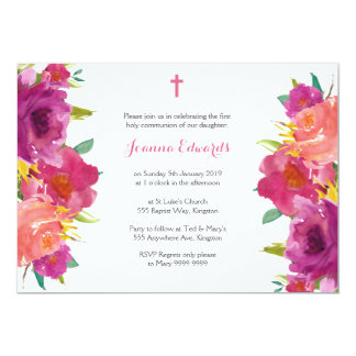 Watercolor Floral First Communion Personalized Card