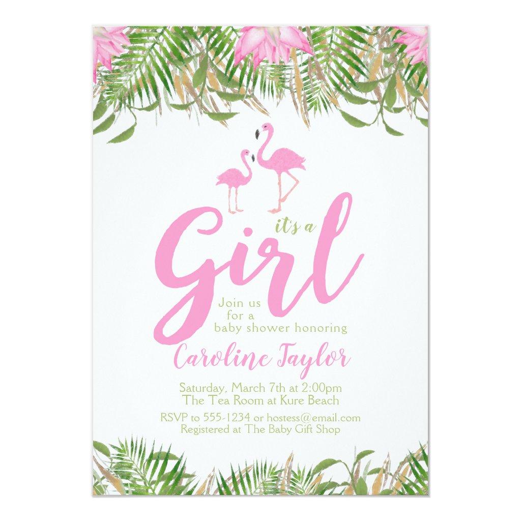 Watercolor Floral Flamingo Baby Shower Invitation