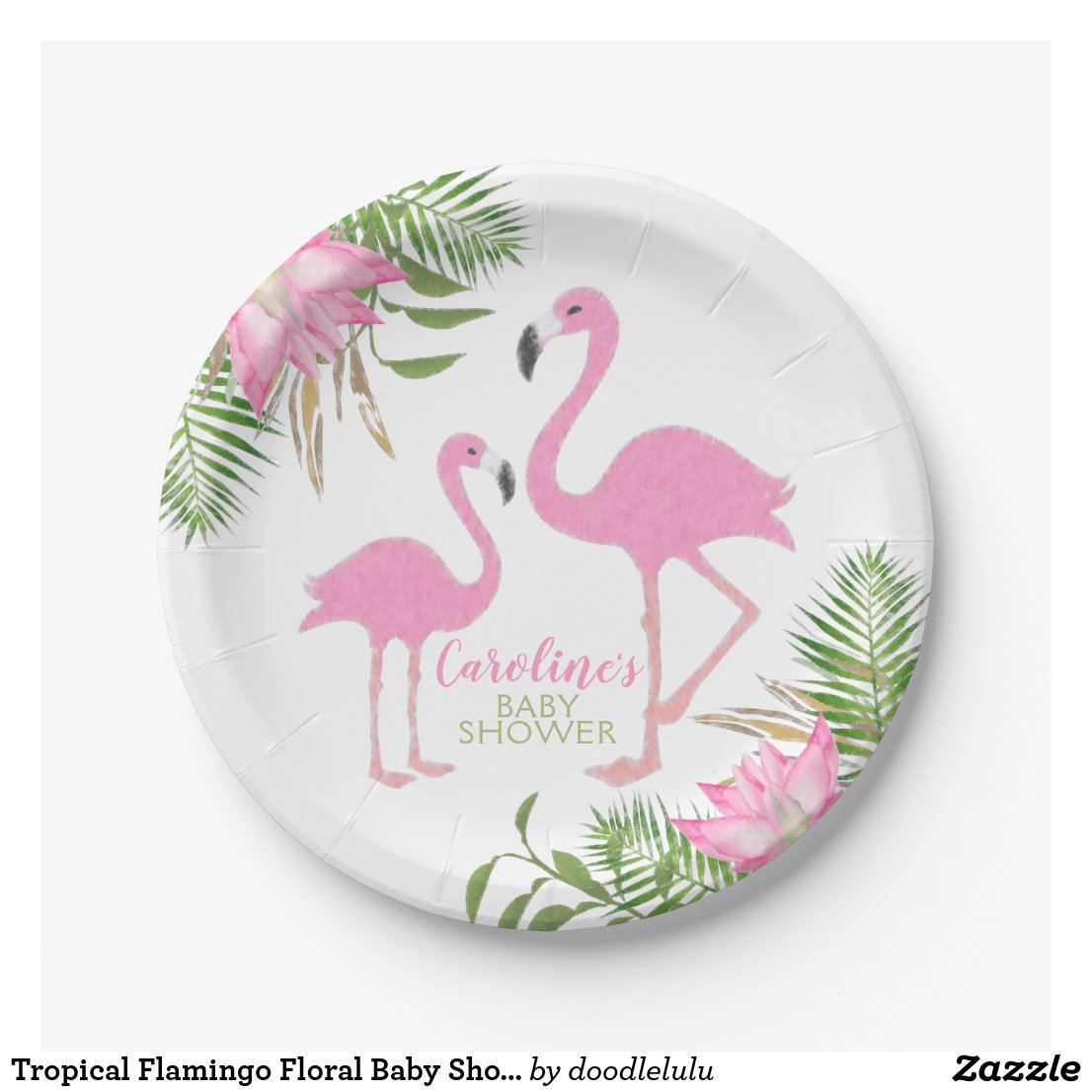 Watercolor Floral Flamingo Baby Shower Paper Plate