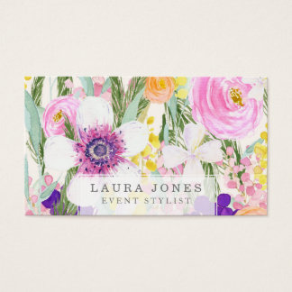 Watercolor Floral Florist Stylist Business Cards