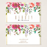 Watercolor Floral Flowers Modern Gold Glamour Business Card