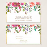 Watercolor Floral Flowers Modern Refer a Friend Business Card