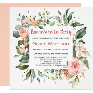 Watercolor floral, foliage Bachelorette Party Invitation