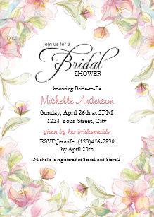 watercolor floral frame pastel bridal shower invitation