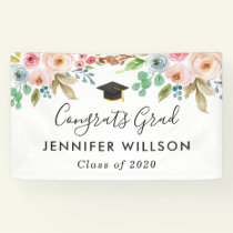 Watercolor Floral Girl Graduate Graduation Party Banner