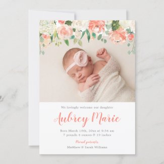 Watercolor Floral Girl Photo Birth Announcements