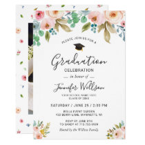 Watercolor Floral Girly Photo Graduation Party Card
