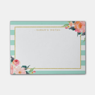 Watercolor Floral Gold Frame Mint Green Stripes Post-it Notes