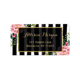 Watercolor Floral Gold Glitter Black White Stripes Label