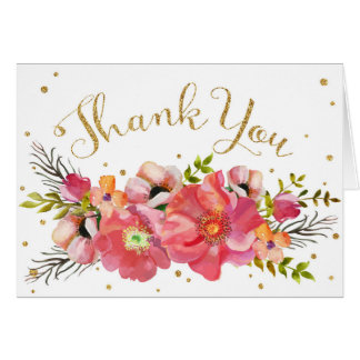 Watercolor Floral Gold Glitter Modern Thank You Card