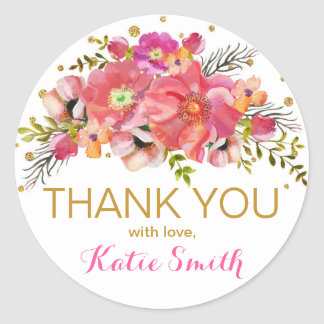 Watercolor Floral Gold Glitter Thank You Label