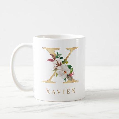 Watercolor Floral & Gold Letter X Monogram Coffee Mug