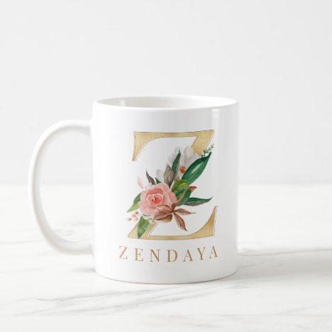 Watercolor Floral & Gold Letter Z Monogram Coffee Mug
