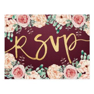 Watercolor Floral & Gold Script Wedding RSVP Reply Postcard