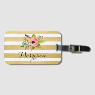 Watercolor Floral Gold White Stripes Monogram Bag Tag