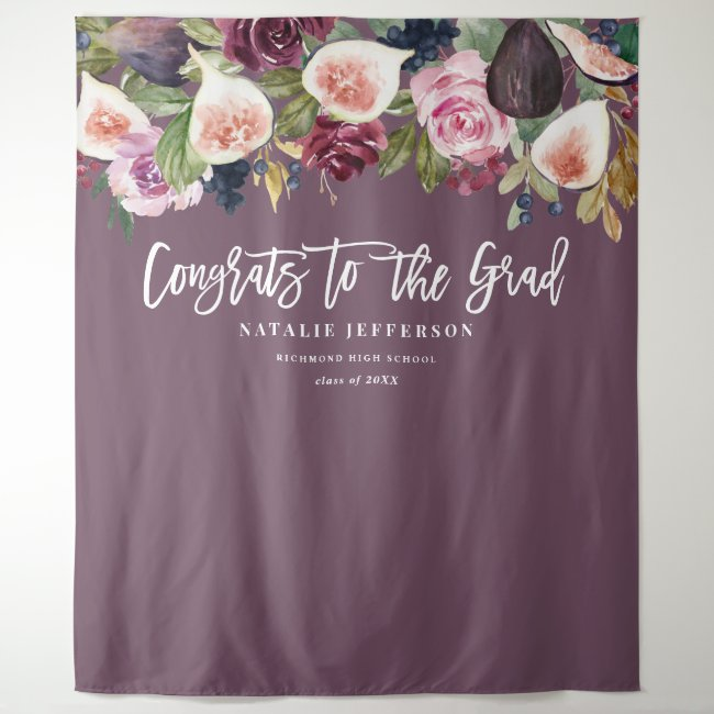Watercolor floral graduate congratulations banner tapestry