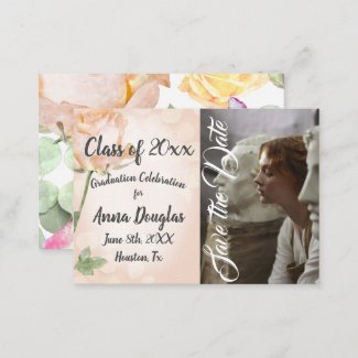 Watercolor Floral Graduation Save-the-Date Advice Card