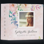 """Watercolor Floral Graduation Scrapbook Photo Album Binder<br><div class=""""desc"""">Chic Blush Watercolor Floral Monogram &amp; Class of &amp; Custom Photo Design. Trendy Modern gear and Apparel. With beautiful Watercolor Flowers,  paint splatters,  a blush pink watercolor background texture,  and Trendy Chic Fonts.</div>"""