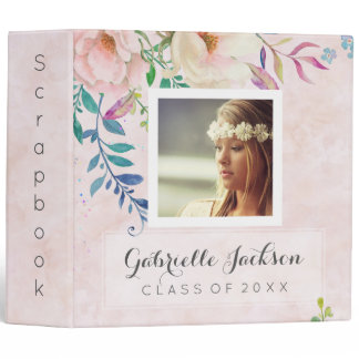 Watercolor Floral Graduation Scrapbook Photo Album Binder