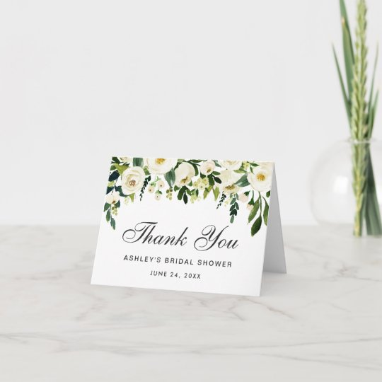 Green Watercolour Floral Personalized Wedding Thank You Cards