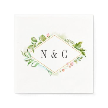 Wedding Themed Watercolor Floral Green Foliage Wedding Monogram Napkin