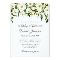 Watercolor Floral Green White Wedding Invitation