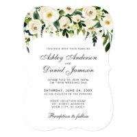 Watercolor Floral Green White Wedding Invitation B