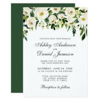 Watercolor Floral Green White Wedding Invitation G