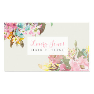 Watercolor Floral Hair Stylist Appointment Cards Business Card