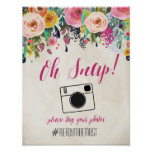 Watercolor Floral Hashtag Wedding Sign Poster