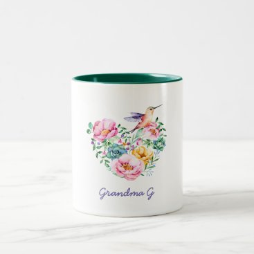 beckynimoy Watercolor Floral Heart Hummingbird Grandma Gift Two-Tone Coffee Mug