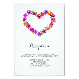 Watercolor Floral Heart Shaped Reception Info Card